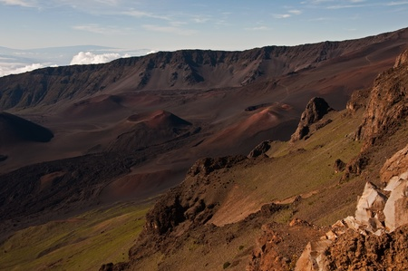 A view into the Haleakala crater with multiple volcanic cones and lava fields, Maui, Hawaii