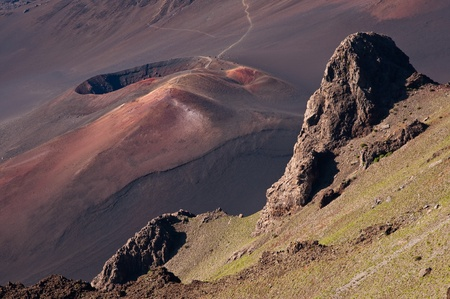 A view into the Haleakala crater with a volcanic cone and a lava flow, Maui, Hawaii