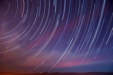 Star and auto trails with a Quadrantid Meteor above Mt  Hamilton in San Jose, California