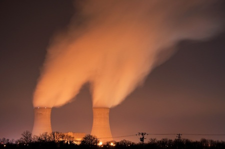 The cooling towers at night of the nuclear power generation plant in Limerick, Pennsylvania