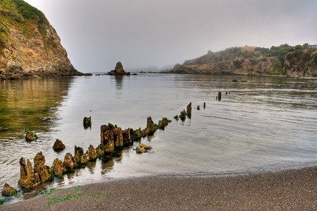 Sunrise fog on the mouth of the Albion River, Albion, California.