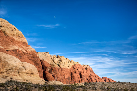 The moon in the day sky above Red Rock Canyon, Las Vegas, Nevada.
