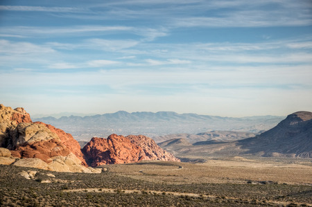A view of Red Rock Canyon above the Las Vegas valley, Nevada.