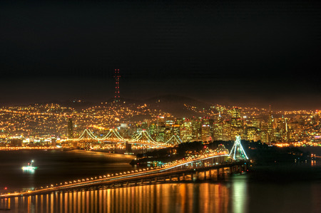 The downtown San Francisco skyline on a cold clear winter night.
