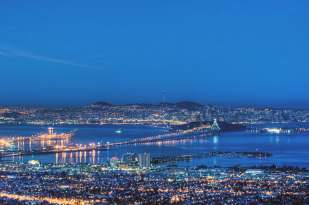 Berkeley, Oakland and San Francisco in a pre-dawn blue. photo