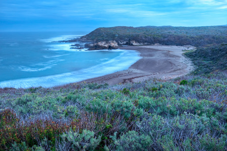 sage: A cloudy morning on the California coastline of Spooners Cove in Montana de Oro State Park.