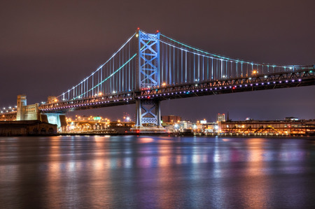 A span of the Ben Franklin Bridge in Philadelphia, Pennsylvania. Stock Photo
