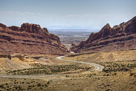 Interstate 70 winds through the Spotted Wolf Canyon of the San Rafael Swell, Utah
