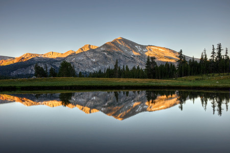 A sunrise reflection of Mammoth Peak and the Kuna Crest on a glacial pond in Dana Meadows, Yosemite National Park, California