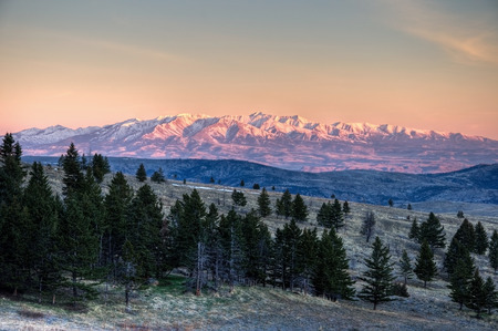 A beautiful sunrise on the Crazy Mountains of Montana
