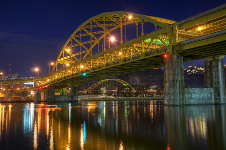 The Fort Duquesne Bridge with the Penn Lincoln Highway Bridge below in downtown Pittsburgh, Pennsylvania