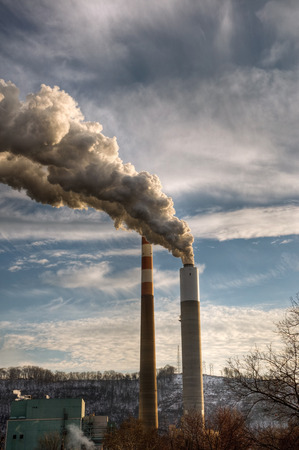 The smoke stacks of a power plant on a cold winter day in Western Pennsylvania