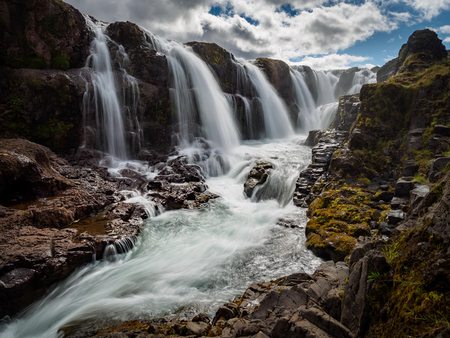 Kolufossar waterfall Iceland Standard-Bild - 111076812