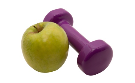 Dumbbells and apples are the symbols of a healthy way of life  photo