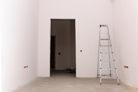 new addition: the room in which carry out repair work with a step-ladder