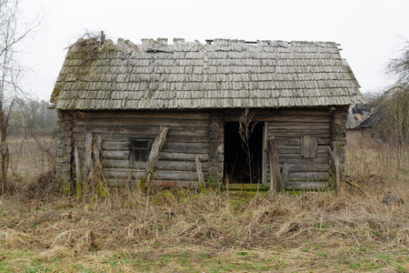 halloween ugly: the old overgrown house constructed of logs in the lonely village