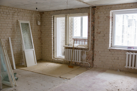 lumber room: preview apartment where renovations are taking place with the processing of all surfaces