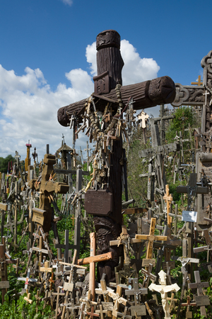 pilgrimage: the mountain of crosses is a pilgrimage place in Lithuania Stock Photo