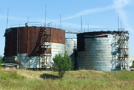 clarifier: the old huge storage covered with steel sheets