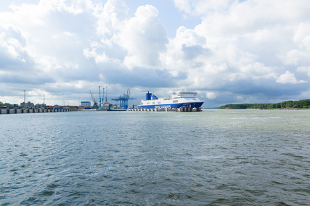 jule: KLAIPEDA, LITHUANIA - JULE 30: Ships in Klaipeda Harbour on Jule 30, 2015 Klaipeda, Lithuania. The Port of Klaipeda is one of the few ice-free ports in northernmost Europe, and the largest in Lithuania. Editorial