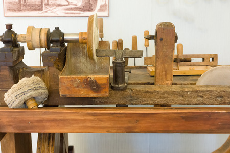 turning table: the ancient wooden machine for processing of pieces of amber