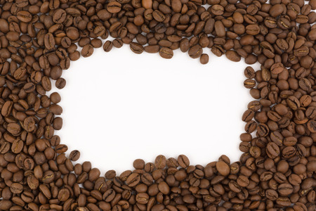 decaffeinated: frame images laid out from coffee beans on a white background