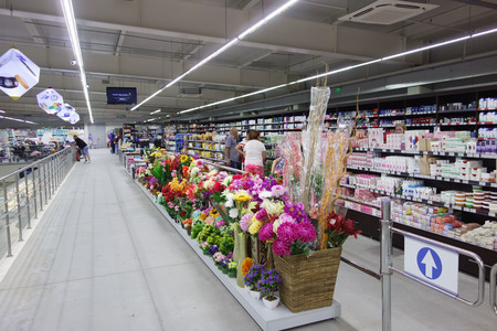 tiendas de comida: Nessebar, Bulgaria - June 27, 2016: Janet - the largest grocery store in the town of Nessebar and its surroundings. Here, hundreds of people bought goods on a daily basis. View of the commercial shelves. Editorial