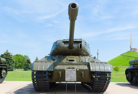 Minsk, Belarus - July 17, 2016: exhibition of military equipment since World War II near the memorial complex Hill of Glory in Belarus.