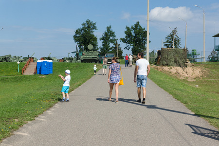 aerial bomb: Loshany, Belarus - July 31, 2016: Stalin Line this is historical and cultural complex. The exposition is a complex defensive fortifications along the borders of the USSR. Hundreds of tourists visit the complex daily.