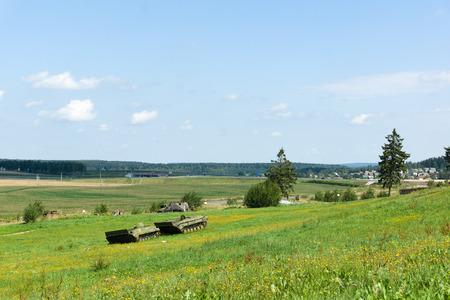 """exposición: Loshany, Bielorrusia - 31 de julio 2016: """"Línea Stalin"""" esto es complejo histórico y cultural. La exposición es un complejo de fortificaciones defensivas a lo largo de las fronteras de la URSS."""