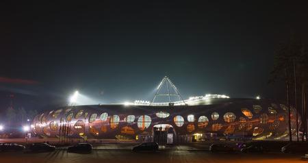 belarus: Borisov, Belarus - September 02, 2016: stadium belonging to FC BATE  in the Borisov city of Belarus in the night. Editorial