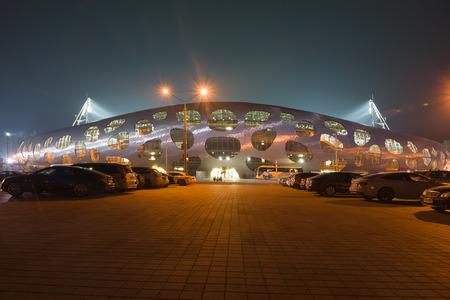 Borisov, Belarus - September 02, 2016: stadium belonging to FC BATE  in the Borisov city of Belarus in the night. Editorial