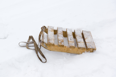 sleds are made of planks on the snow in winter Stock Photo