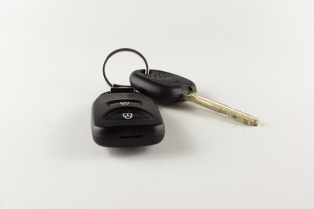 keyless: key with remote control of car alarm on a white background Stock Photo
