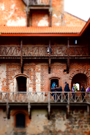 hundreds: Trakai, Lithuania - October 16, 2016: Trakai castle on the lakes is visited by hundreds of thousands of tourists every year. The inside of the castle.