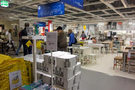 Vilnius, Litouwen - 29 april 2017: paviljoens slaan IKEA op in de stad Vilnius.