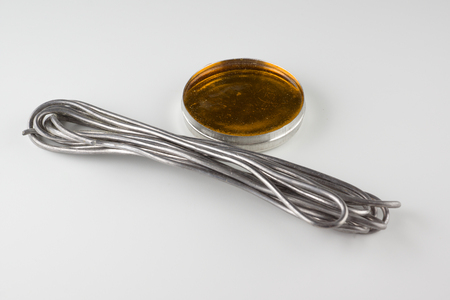 Solder and rosin are used for soldering electrical parts