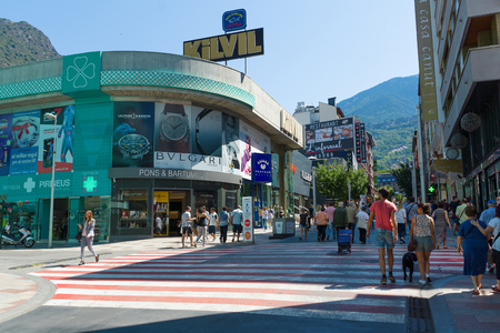 Andorra la Vella, Andorra - August 14, 2017: Andorra is the country with the smallest trade taxes. It is a tourist and commercial center of Europe. 報道画像