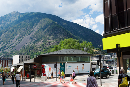 Andorra la Vella, Andorra - August 14, 2017: Andorra is the country with the smallest trade taxes. It is a tourist and commercial center of Europe. Editorial