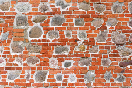 texture of a wall lined with bricks through a cement slurry Standard-Bild - 106055875