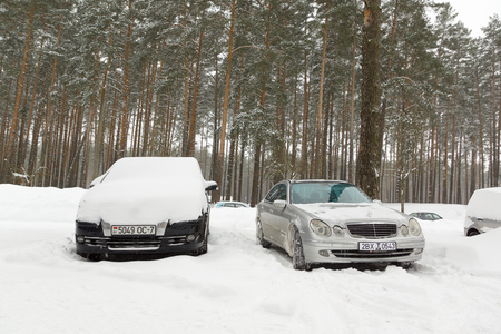 Borisov, Belarus - March 04, 2018: snow fell in March and created problems for motorists