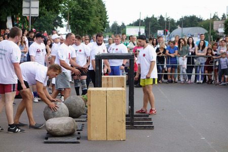 Borisov, Belarus - JULY 16, 2016: people celebrate the fifth anniversary of the sports and recreation complex. Editorial