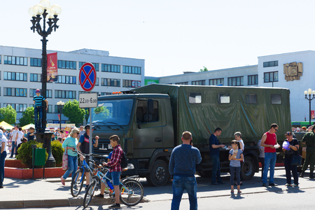 Borisov, Belarus - May 09, 2018: celebrating the day of victory in a large regional city. Editorial