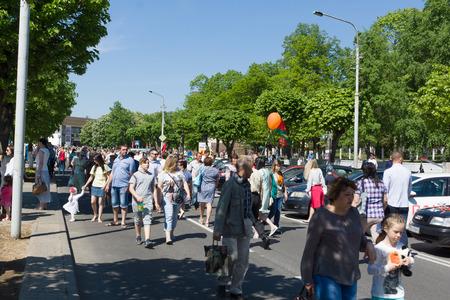 Borisov, Belarus - May 09, 2018: celebrating the day of victory in a large regional city. Redakční