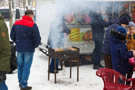 Borisov, Belarus - February 18, 2018: celebration of the ancient pagan holiday pancake week in modern Belarus