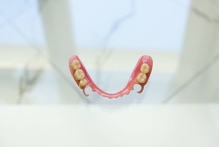 large image of a modern denture nylone on a glass background