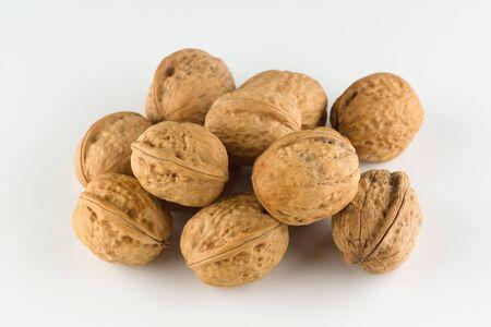 Walnut closeup image isolated on white background