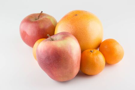 Food Related Apples and Orange Isolated on a White Background