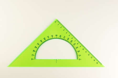 triangular ruler for studying at school isolated on a white background Stockfoto