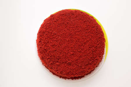 bright red cake called red velvet isolated on a white background Stock Photo